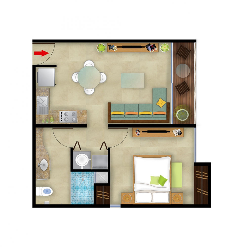 One Bedroom Total Area 552 Sq Ft