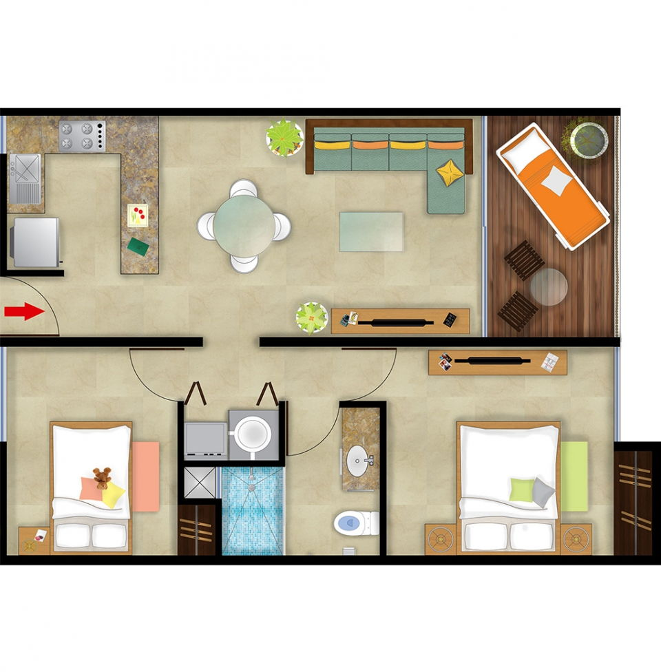 Two Bedrooms Total Area 765 Sq Ft